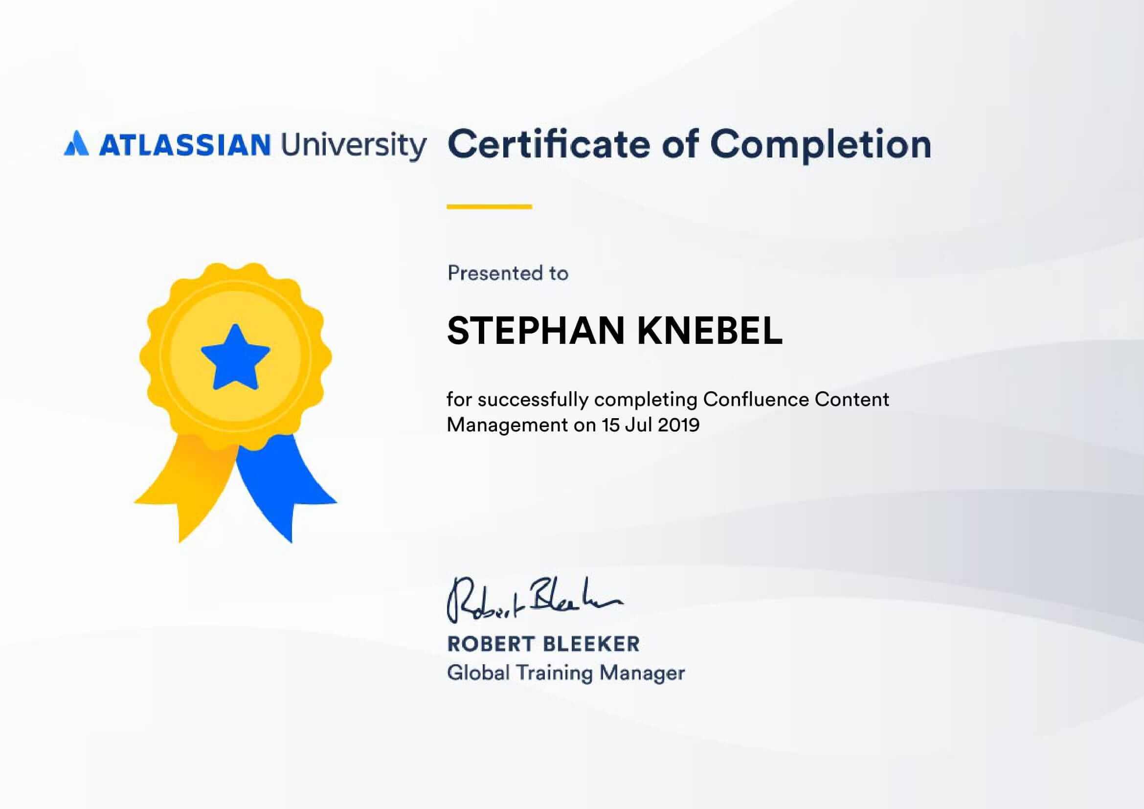 Certificate Confluence Content Management