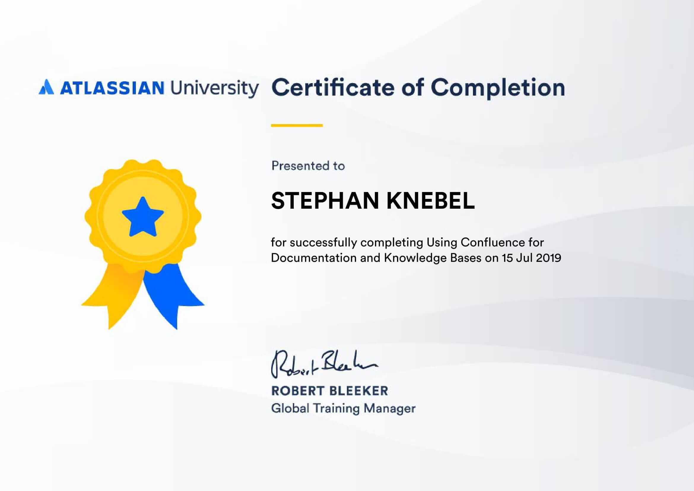 Certificate Using Confluence
